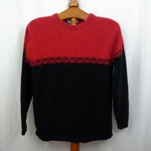 Eddie Bauer mens sweater M Red Navy blue Pullover